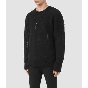 AllSaints Black Wool Hannent Crew Sweater
